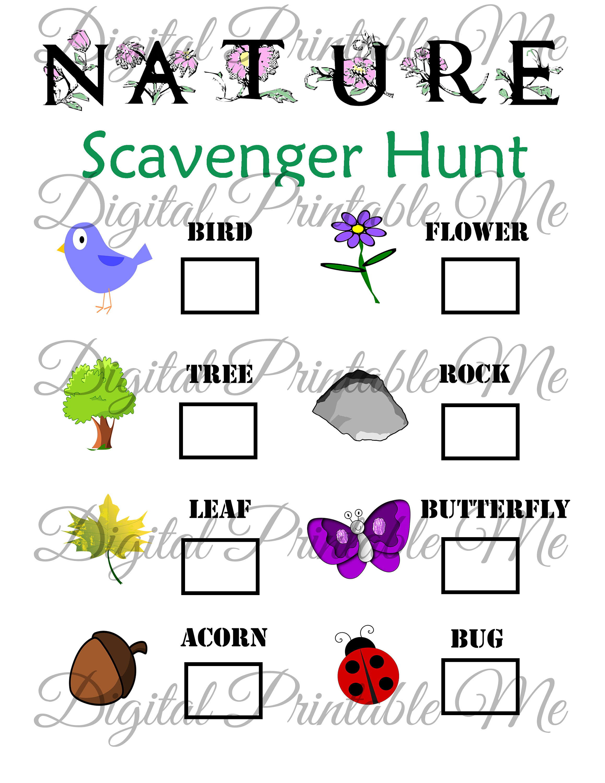 Nature Scavenger Hunt Printable Kids Activity Backyard