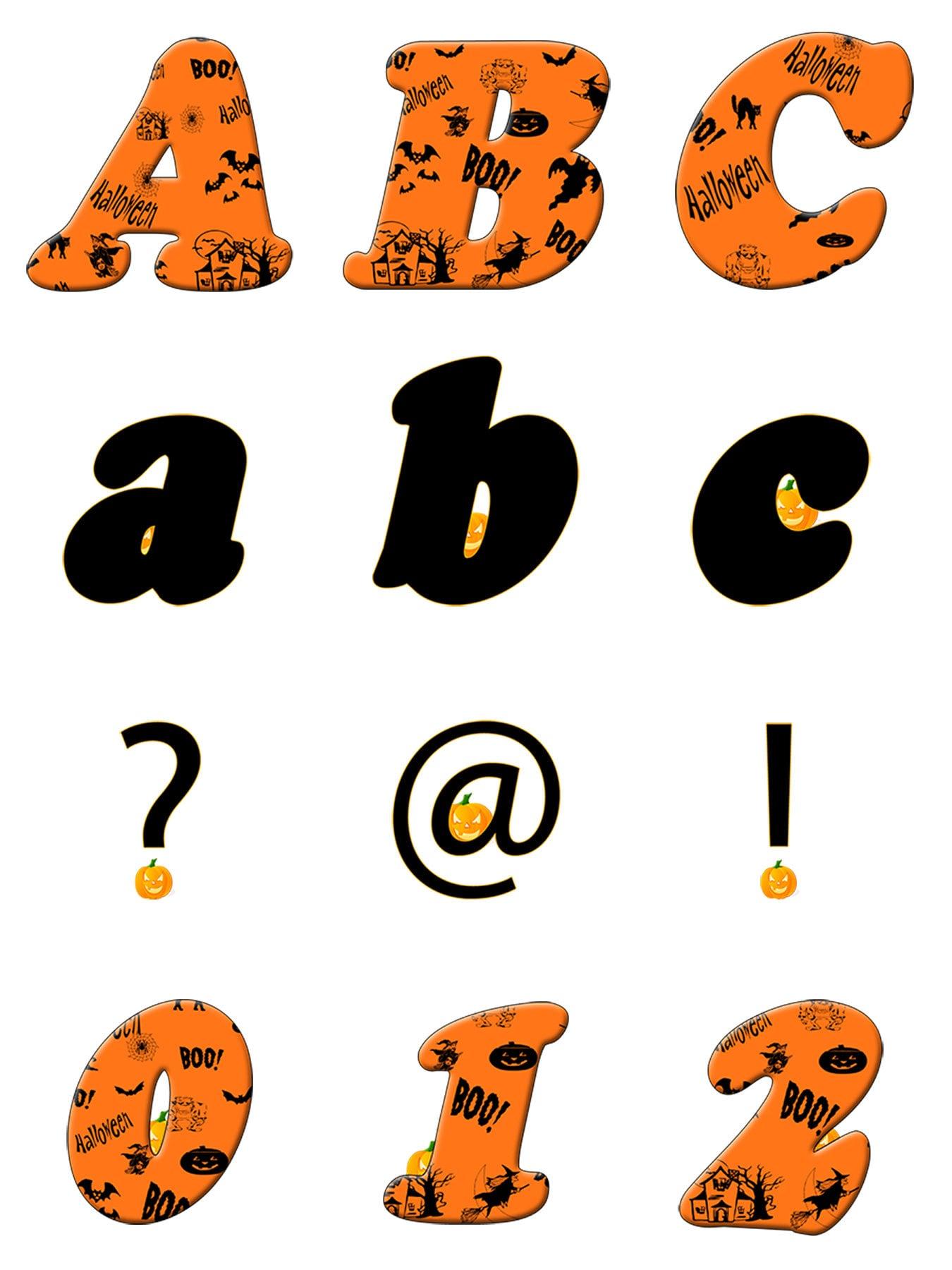 Alphabet Letters Numbers Halloween Witches Pumpkin Orange