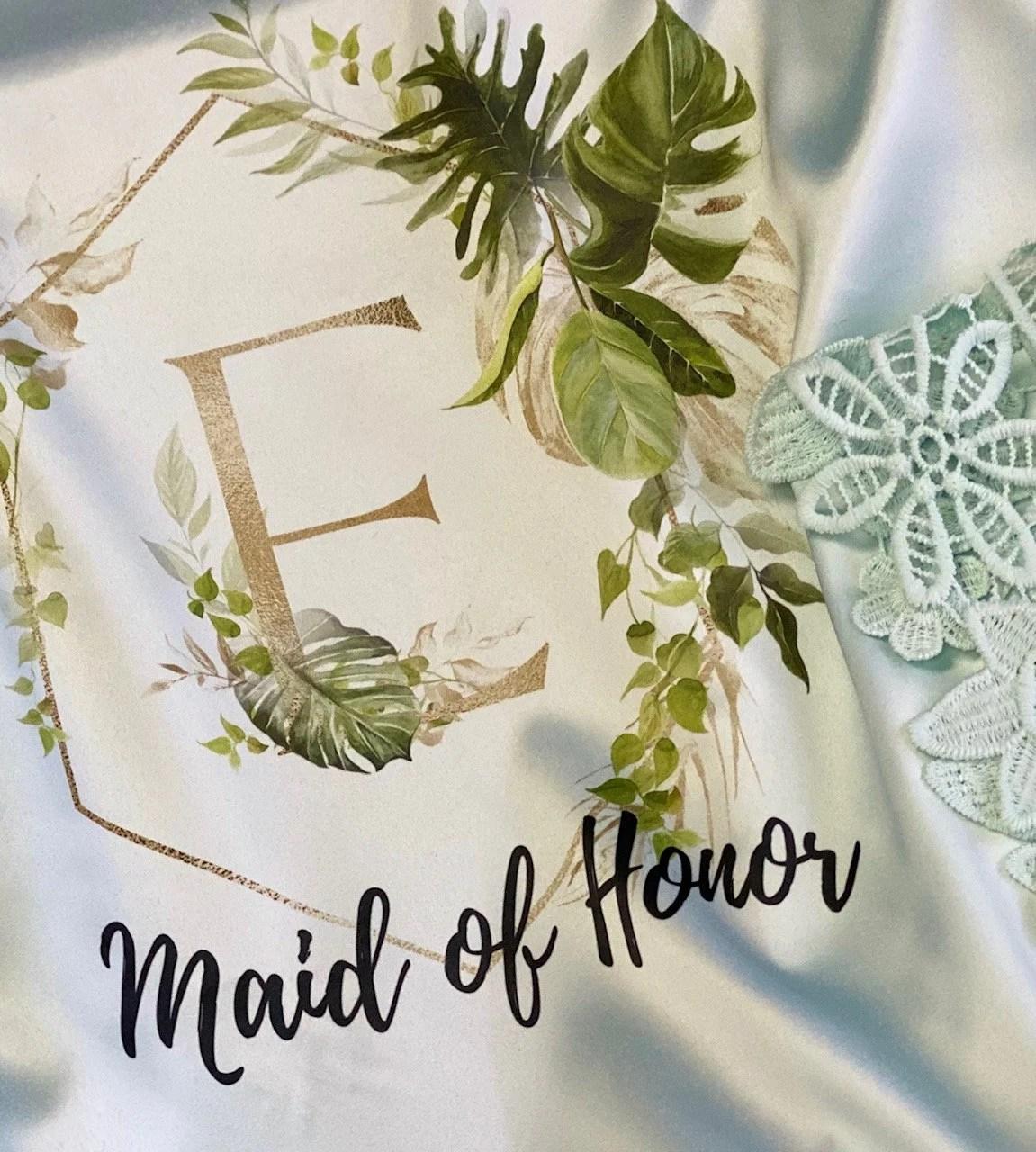 Tropical Wedding Bridal Robes  Bridesmaid Gifts Greenery image 2