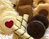 felt cookies, miniature food, tea party, felt tea party, food toy, gift for girl, felt food, fake food, ready to ship, foodie gift, felt toy