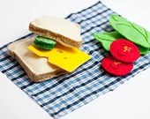 felt sandwich, felt food, food toy, sandwich set, play food, miniature food, fake food, Montessori toy, kitchen toys, Waldorf toy, felt toy