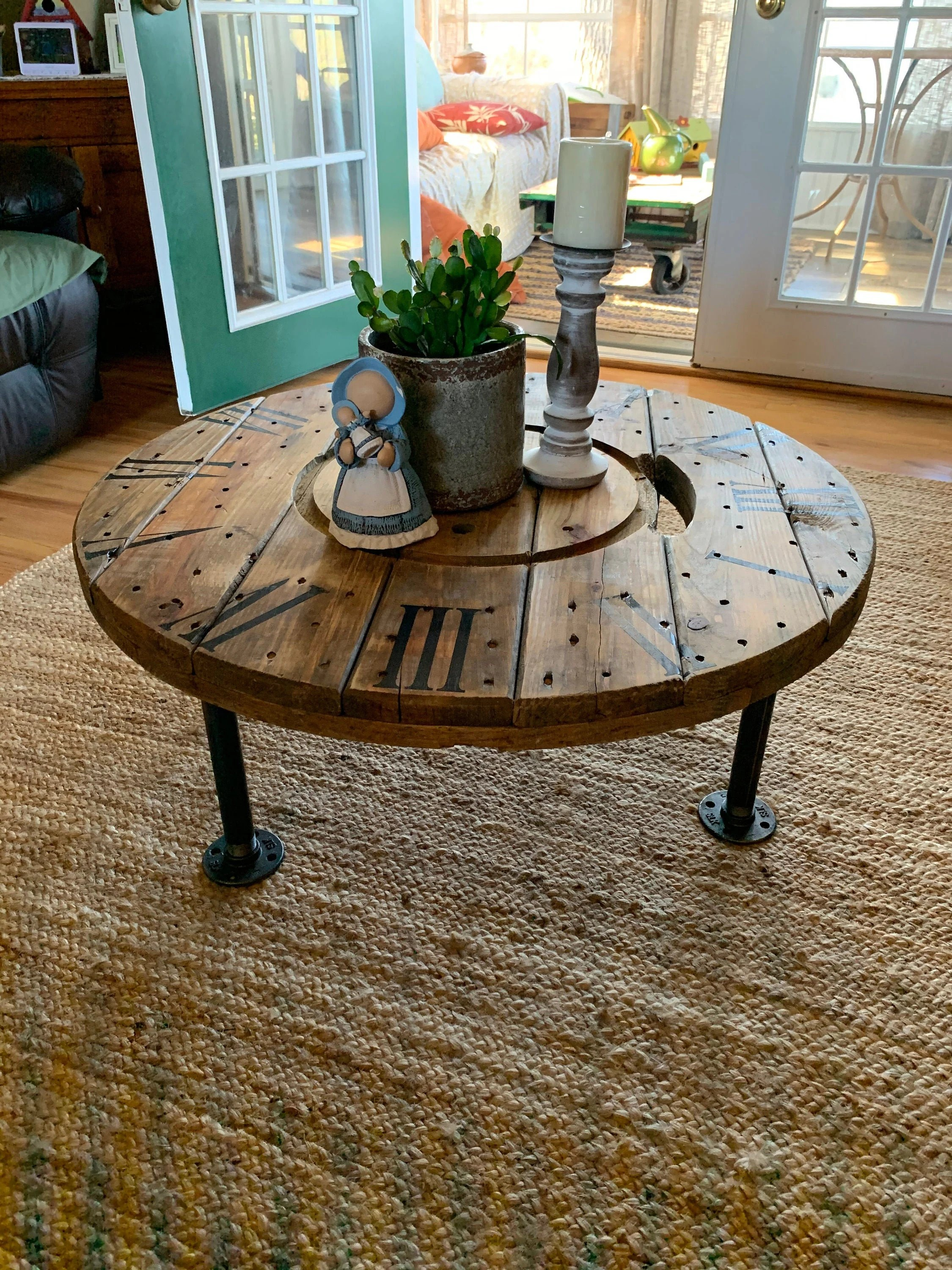 30 industrial wire spool clock coffee table with iron pipe legs