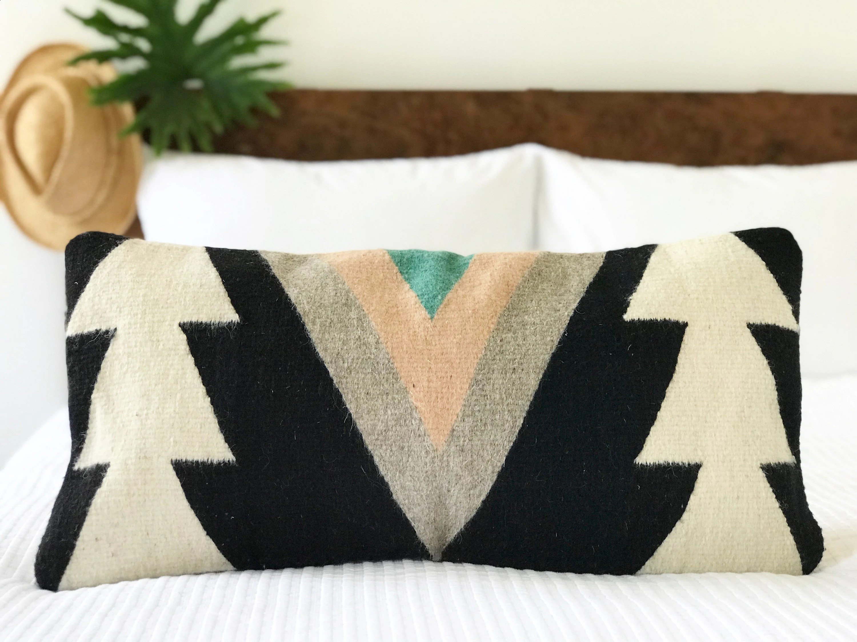 mexican wool pillow etsy