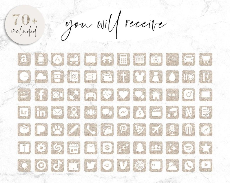 Give a personal touch to your iphone home screen! App Icons Neutral Beige IOS 14 Aesthetic Home Screen ...