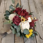 Ready To Ship Burgundy Sunflower Bouquet With Wood Flowers In Cream And Burgundy