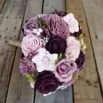 Ready To Ship Dark Plum Mauve Light Pink And Cream Wood Flower Bouquet Bridal Bouquet Bridesmaid Bouquet