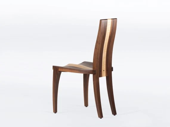 Modern Dining Chairs Handmade In Solid Walnut And Maple Wood Etsy