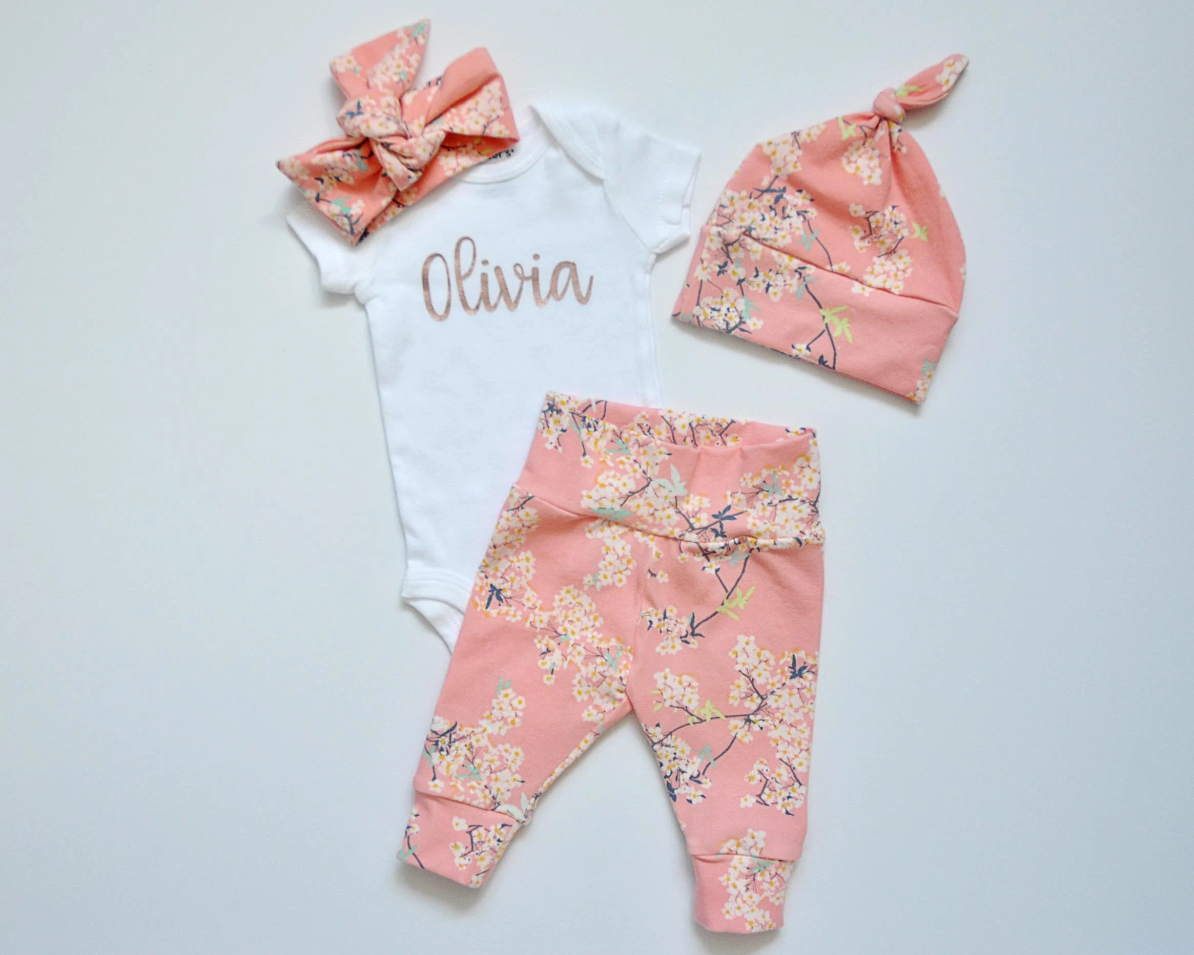 Going Home Set Baby Girl Personalized Baby Name Onesie Pnts+Top+HB+Hat