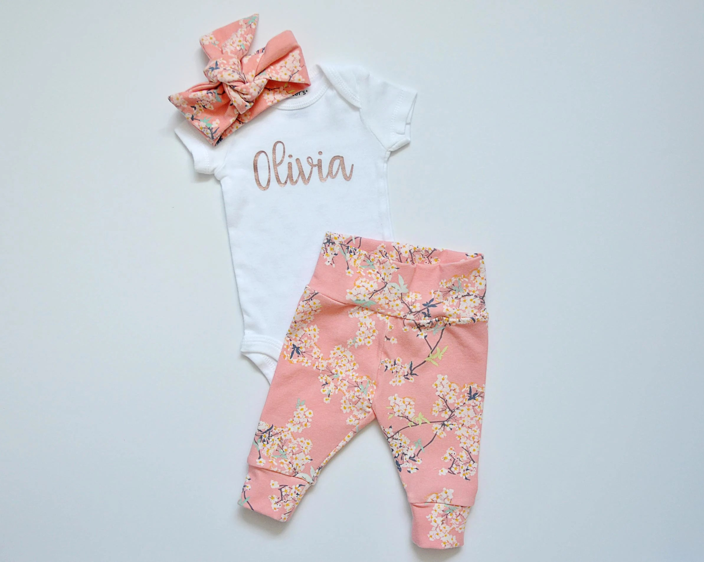 Going Home Set Baby Girl Personalized Baby Name Onesie Bodysuit+Pants+Hdbnd
