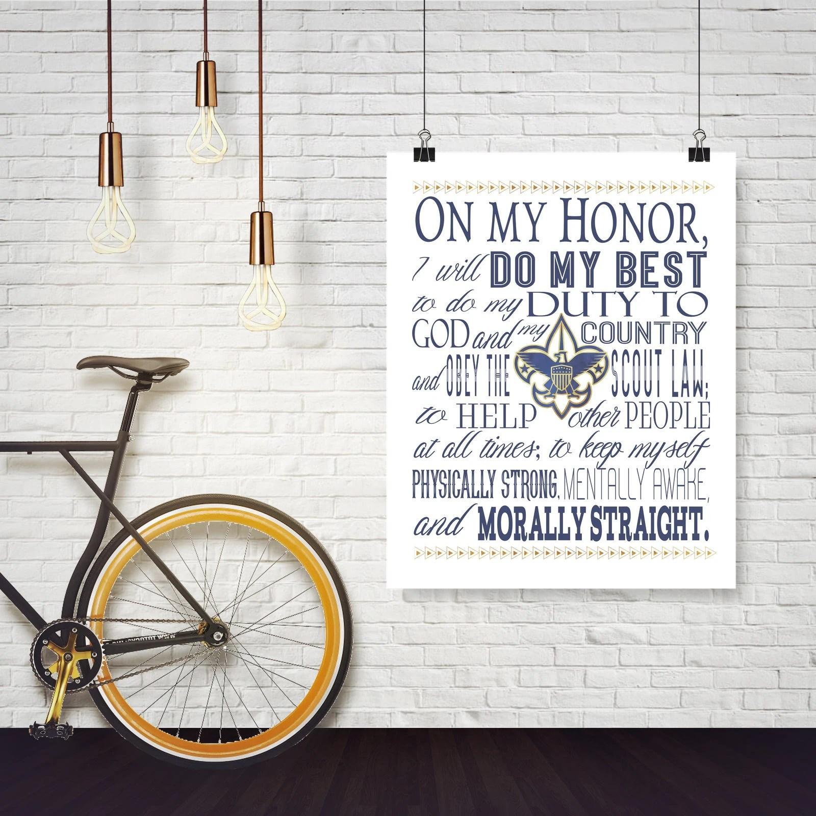 Boy Scout Oath Poster Navy Digital Printable Art