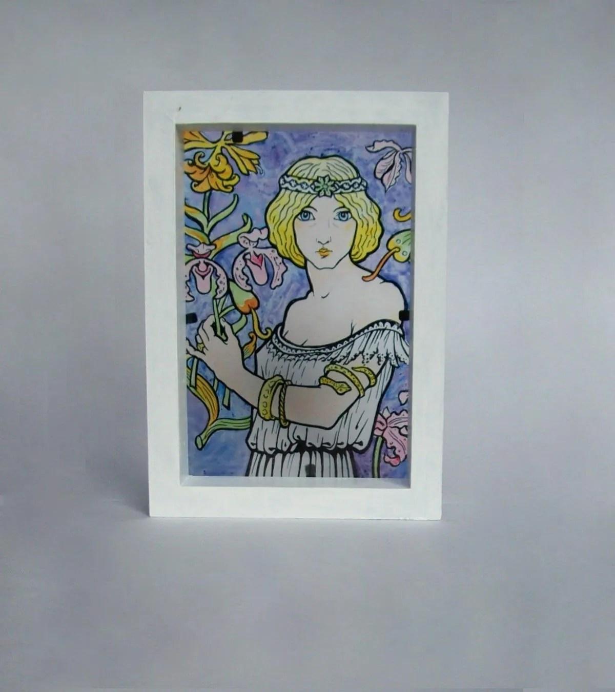 Murando quadro mega xxxl albero klimt 270x135 cm straordinario stampa su tela xxxl per un facile montaggio fai da te grande immagini moderni murale diy. Art Nouveau Stained Glass Light Box Woman Flowers Handpaint Etsy