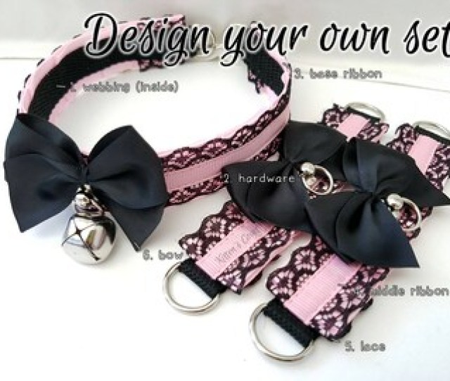 Lilith Set Design Your Own Lace Thin Pleated Kitten Pet Play Ddlg Collar And Cuff Set
