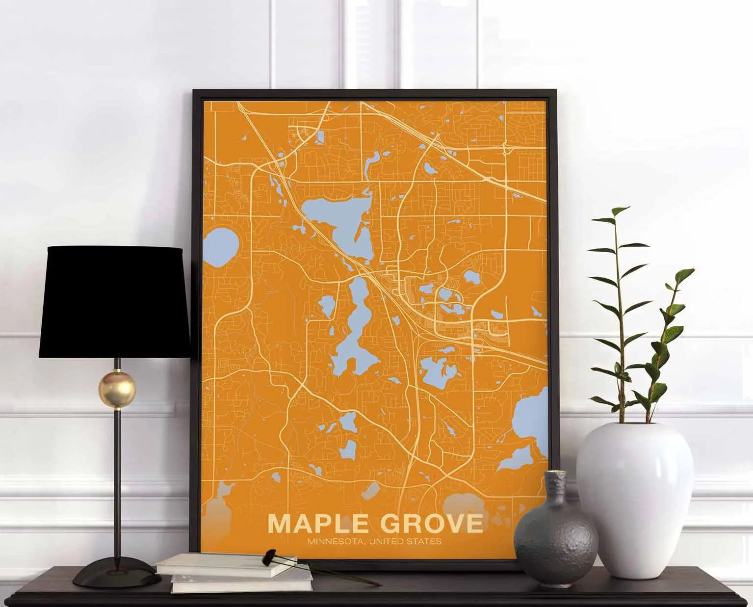 Maple grove mn map   Etsy