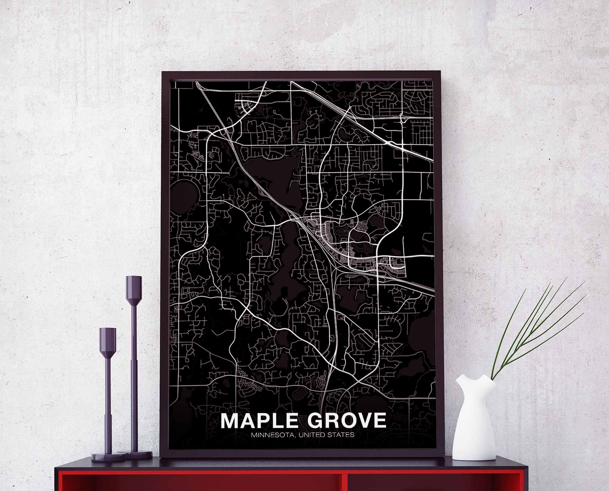 Maple grove mn map   Etsy MAPLE GROVE Minnesota MN usa map poster black white wall design modern  motto scandinavian minimal nordic housewarming travel bedroom