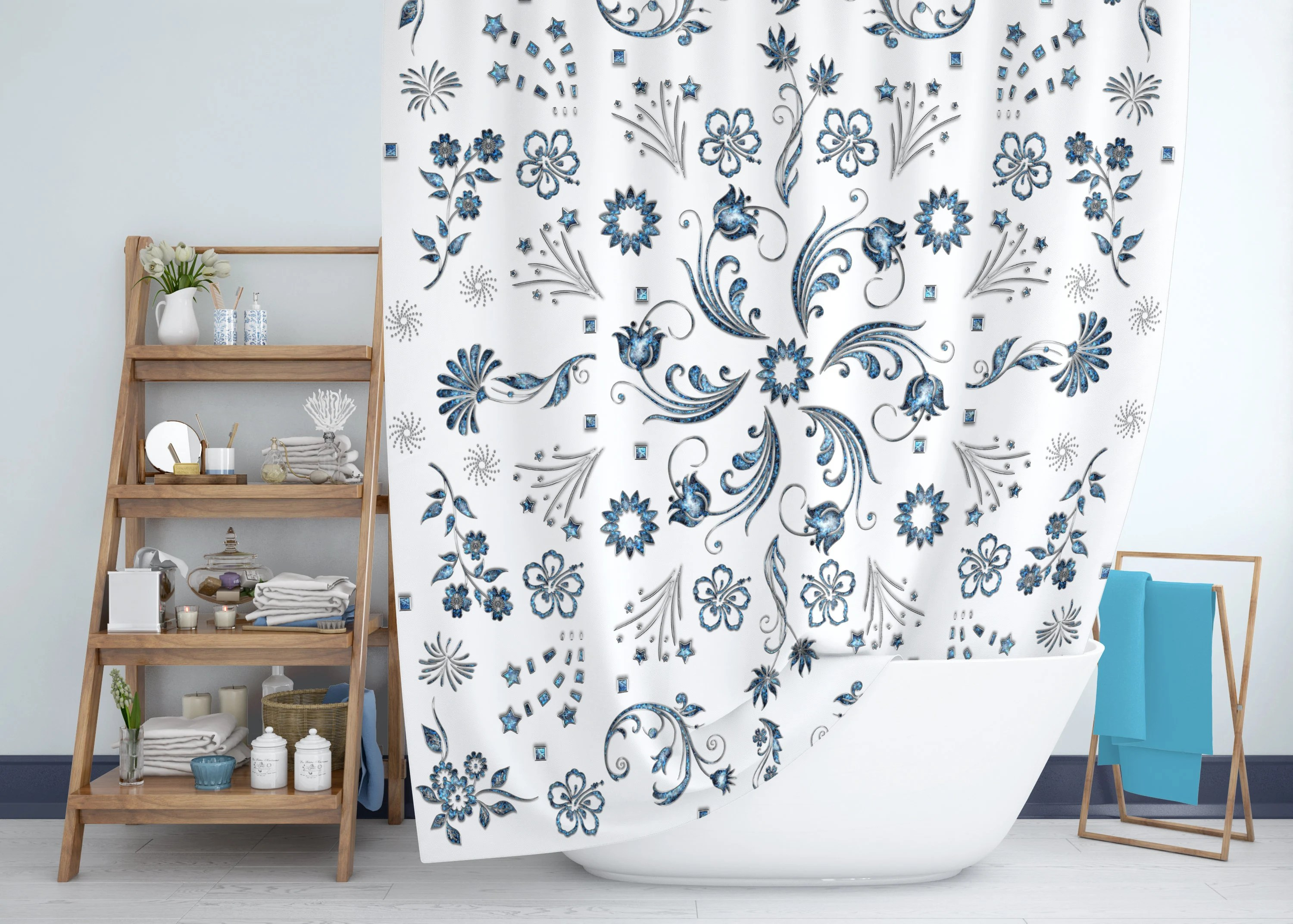 Navy Blue Floral Pattern Shower Curtain Luxury 3d Abalone Shell Jewels Of Flowers And Starbursts In Sapphire Turquoise And Silver