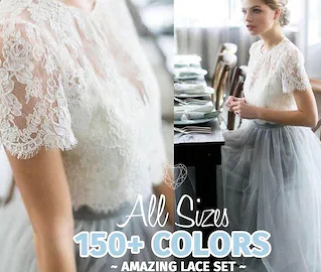 Belle Dress Tulle Set Lace Crop Top With Sleeves And Tulle Skirt Long Lace Crop Top Bridesmaids Dress Tulle Blush Pink Blue Grey Skirt
