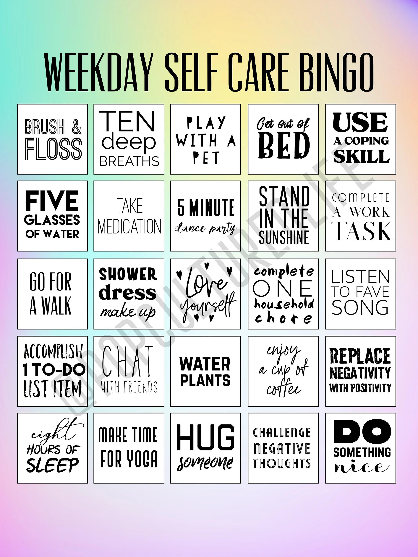 Digital Prints Self Care Bingo Premade Bingo Cards