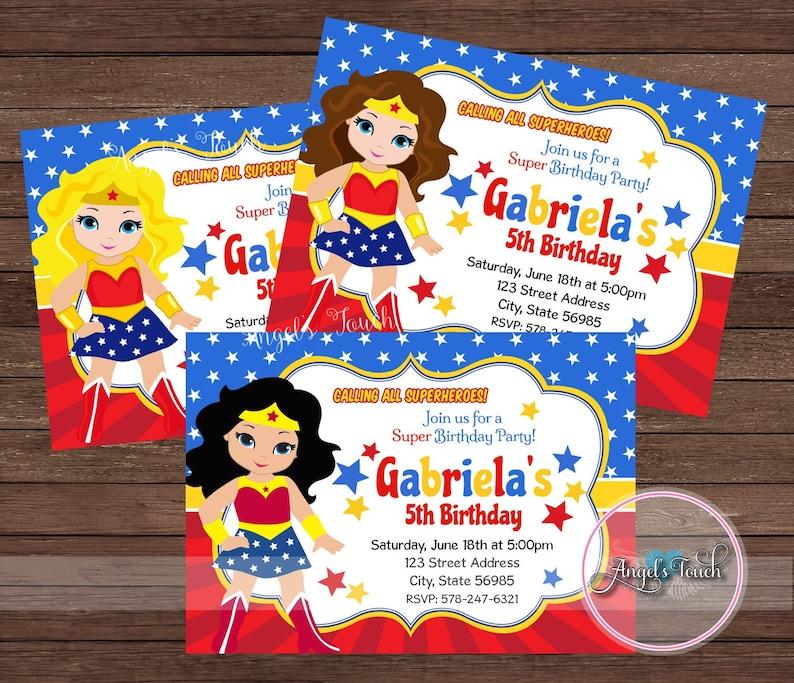 wonder woman party invitation wonder woman invitation wonder woman birthday invitation ww party invitation wonder woman digital file