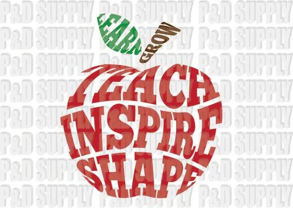 Download Teach Inspire Shape Apple Teacher SVG DXF Digital Cut file ...