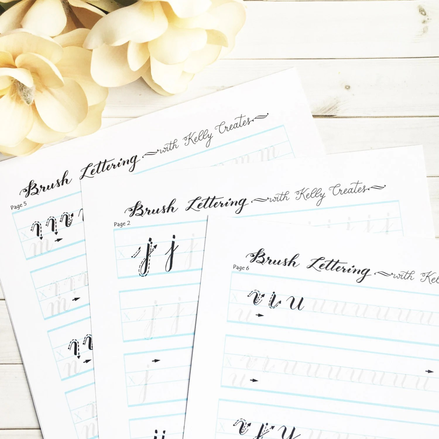 Brush Lettering Alphabet Practice Worksheets For Small