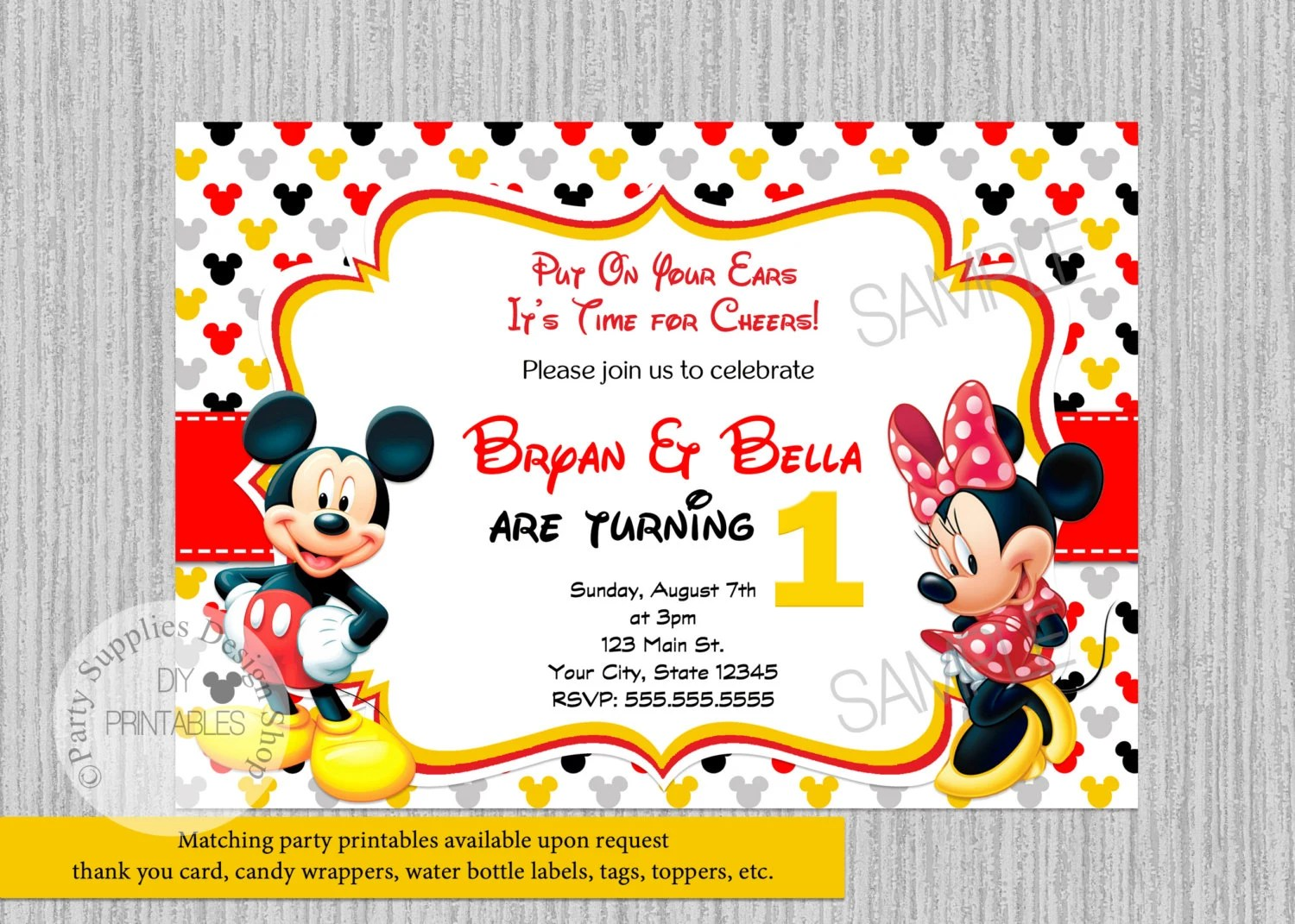 you cards baby minnie mickey mouse