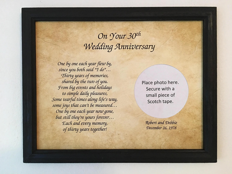 30 Year Anniversary 30th Anniversary Gift 30th Wedding