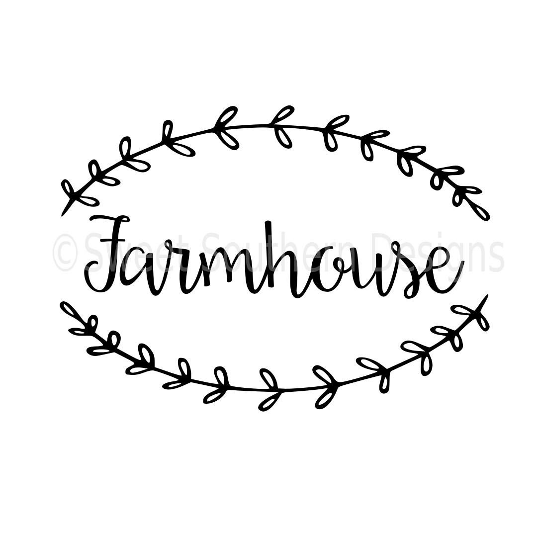 Farmhouse With Laurel Wreath Svg Instant Download Design