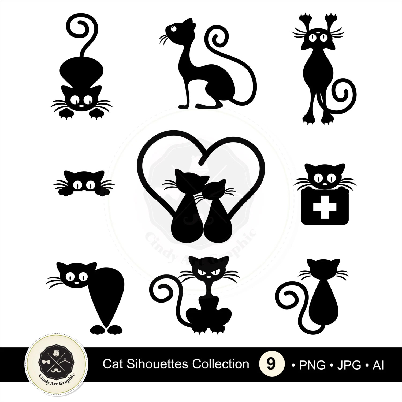 Cat Silhouettes Clipart 2 Cat Clipart Black Cat Clipart