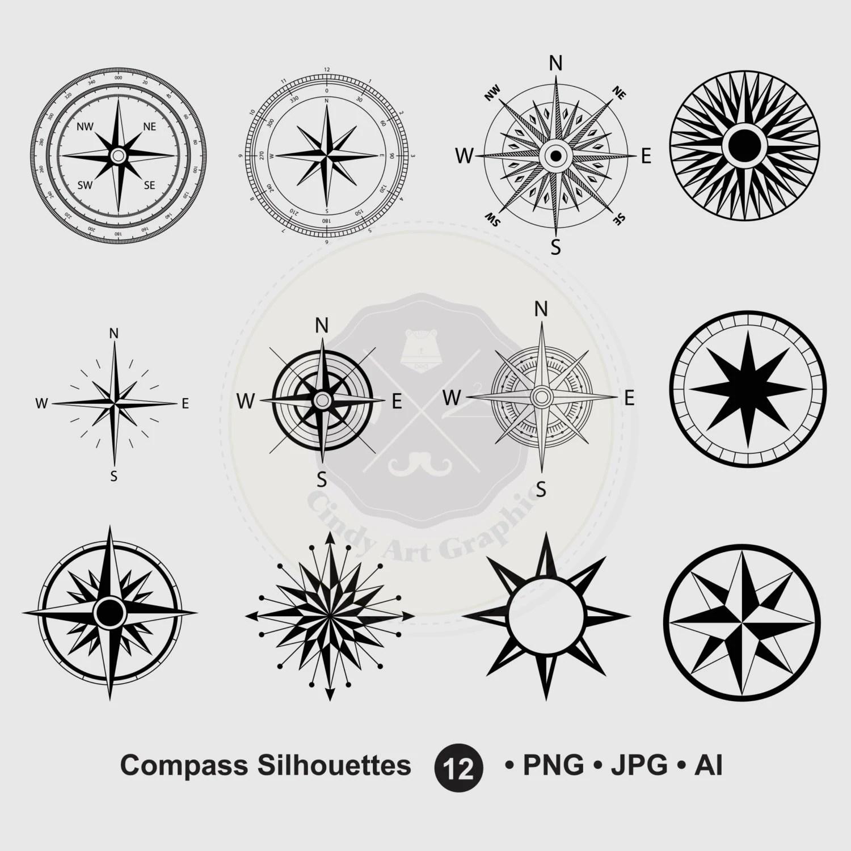 Compass Silhouettes Clipartcompass Clipartsilhouettes