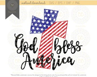Download God Bless America with Stars Country Shape SVG EPS dxf   Etsy