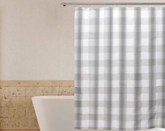 plaid shower curtain etsy
