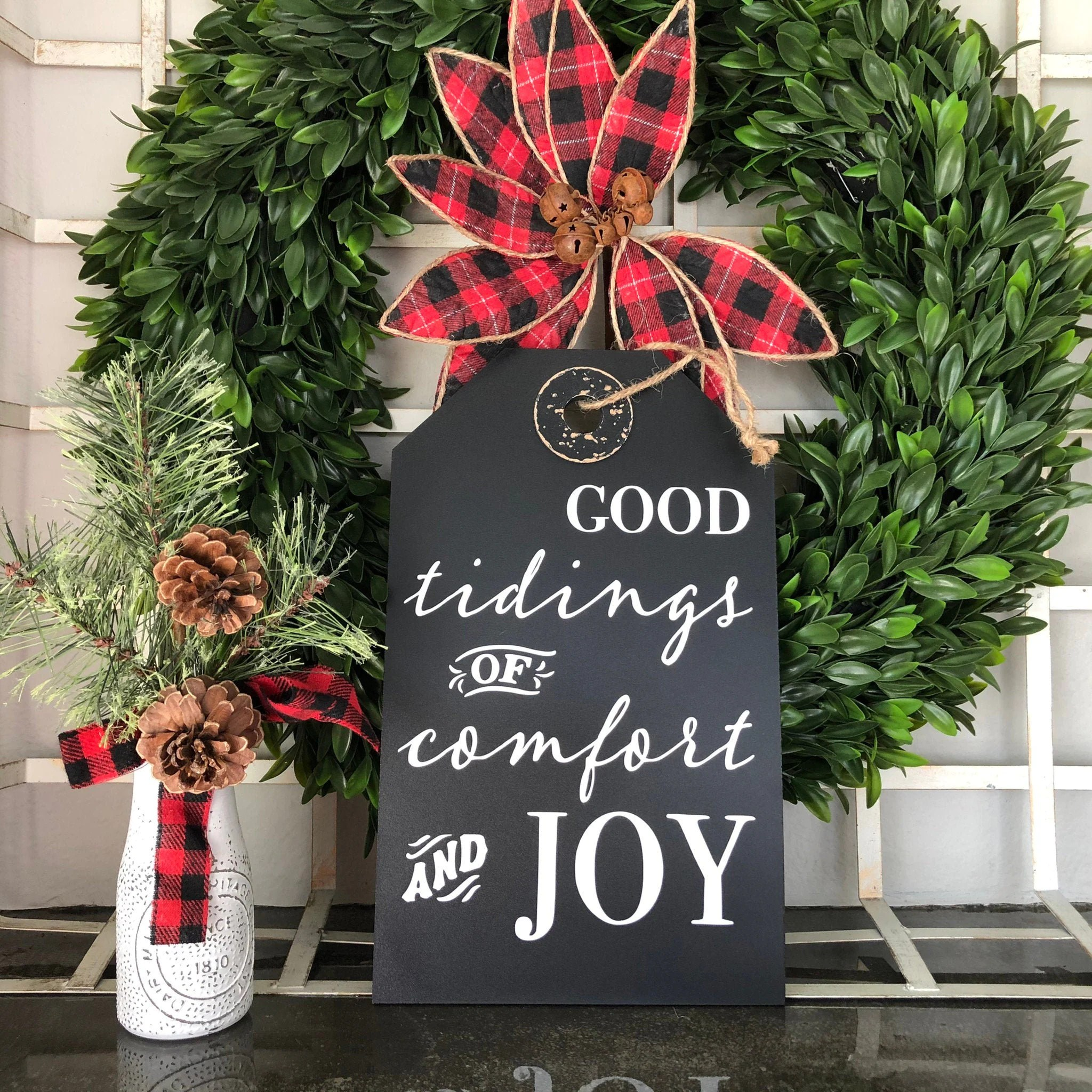 Good Tidings Of Comfort And Joy Large Rustic Holiday Tag