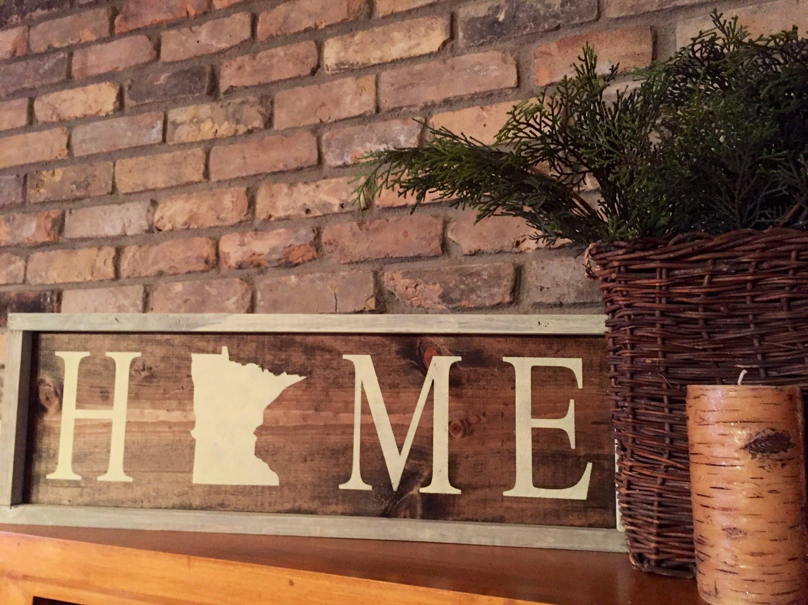 Minnesota home sign. Rustic. Wall Decor. Wood. Holiday ... on Home Wall Decor Signs id=53420