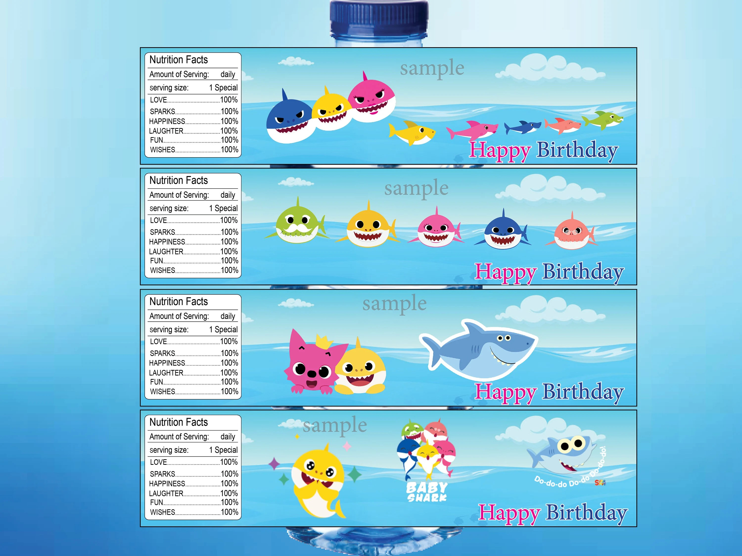 Baby Sharks Water Bottle Labels Baby Sharks Party Baby