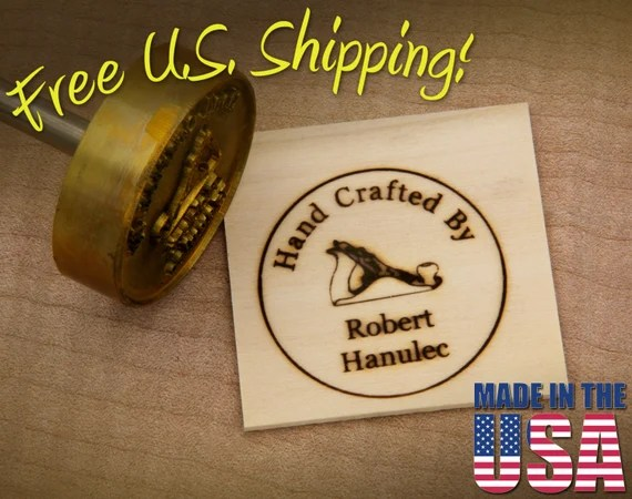 "Branding Iron - 2"" Round Custom Text ""Hand Crafted By"" with Hand Plane for Wood"