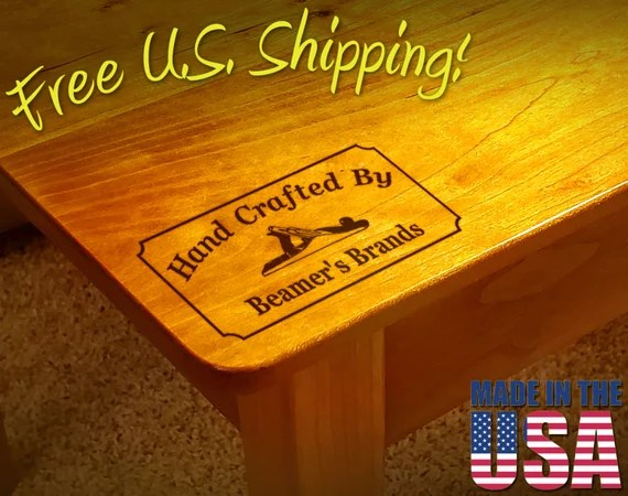 "Branding Iron - 3"" x 1.5"" Custom Text ""Hand Crafted By"" with Hand Plane for Wood"