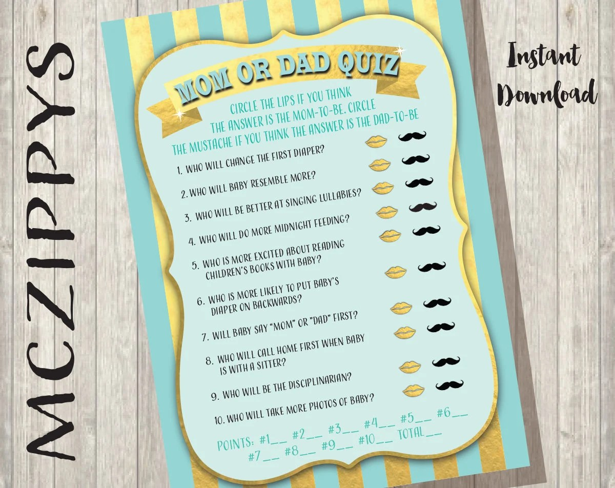 Printable Baby Shower Game Mom Or Dad Quiz Trivia With