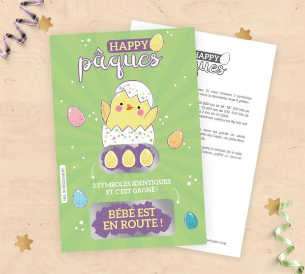 Annoncer sa grossesse à Pâques à l'aide de carte à gratter petit poussin | A découvrir sur le blog : babyshowercreative.com