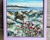 View over Morecambe Bay.  Miniature Framed original art piece.