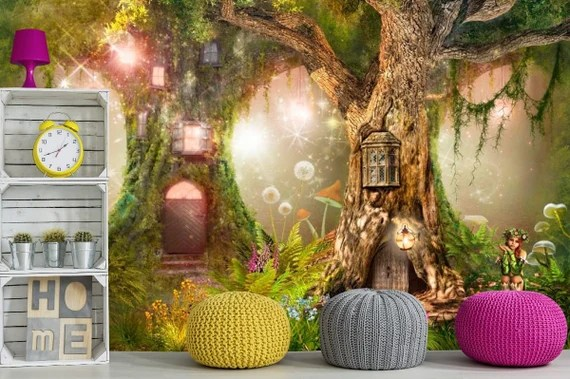 Wall Decals Kids Magic Wood Wallpaper Fairy Forest Kids Room Etsy