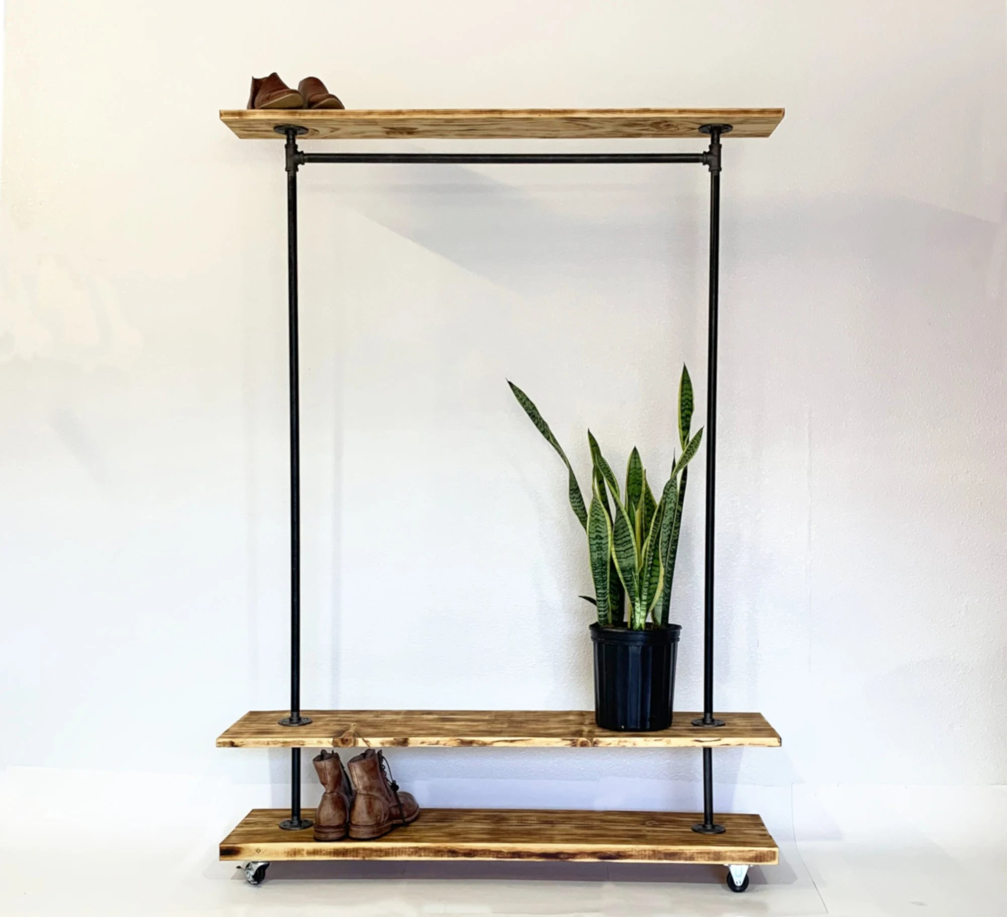 industrial garment clothing rack with top and bottom rustic etsy