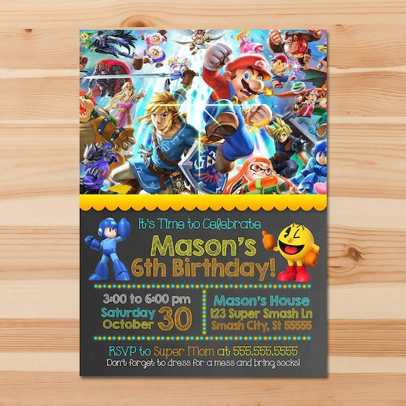 super smash brothers ultimate birthday invite chalkboard super smash brothers invitation super smash brothers party printables 100898