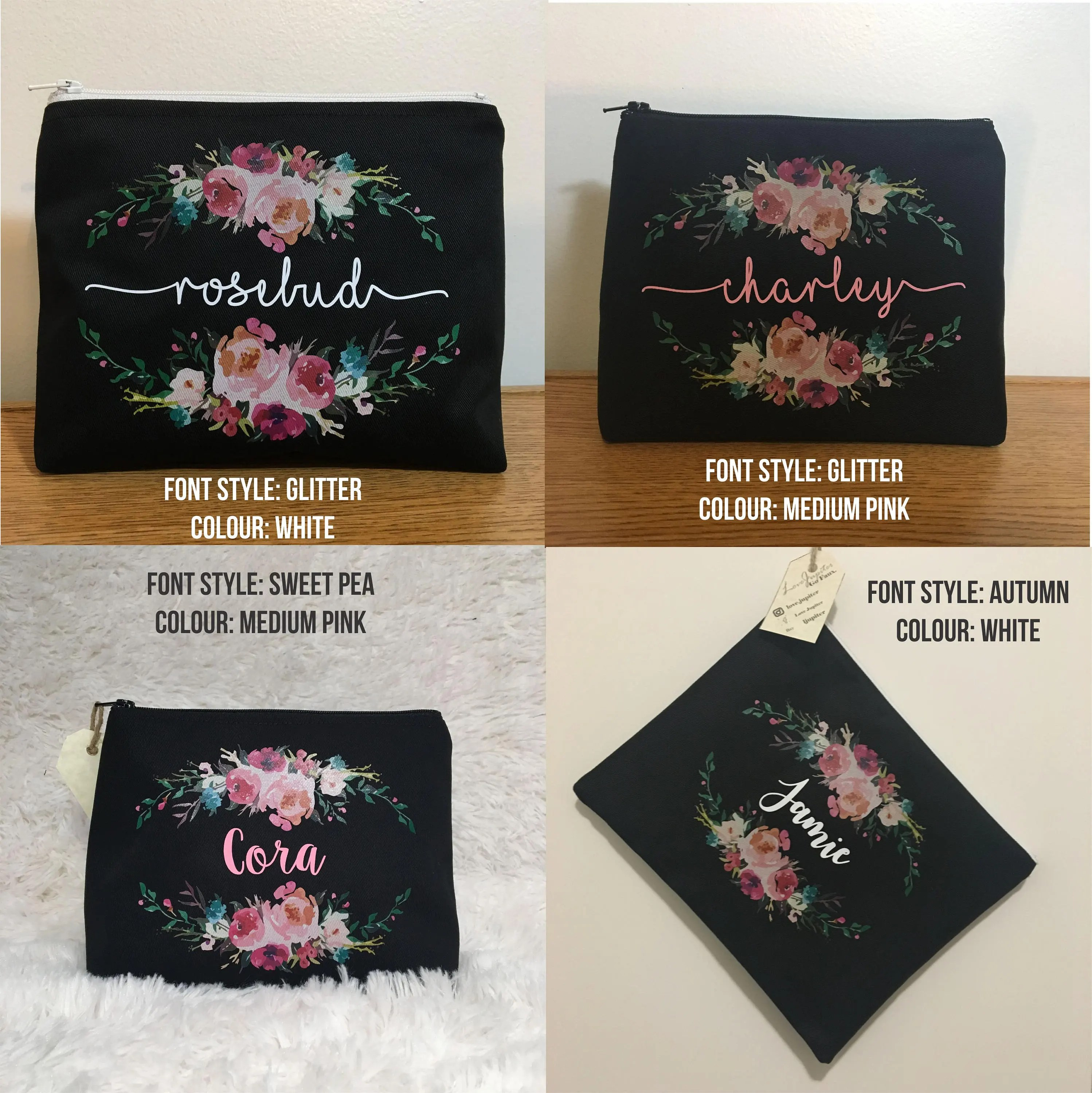 Floral and Name Custom Makeup Bag / Bridal Party / Flowers / image 7
