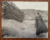 Jon Snow and Drogon Canvas Print