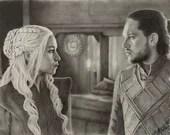Daenerys Targaryen and Jon Snow Art Print
