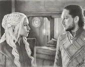 Daenerys Targaryen and Jon Snow Original Drawing