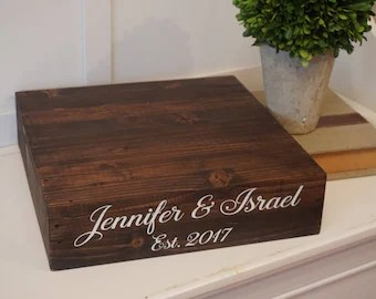 Wedding cake box   Etsy Rustic cake stand  Rustic wedding cake box Personalized wedding cake stand  Wedding  box