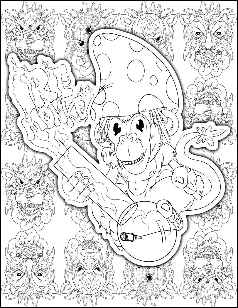 perfect stoner gift stoner coloring page weed art adult  etsy