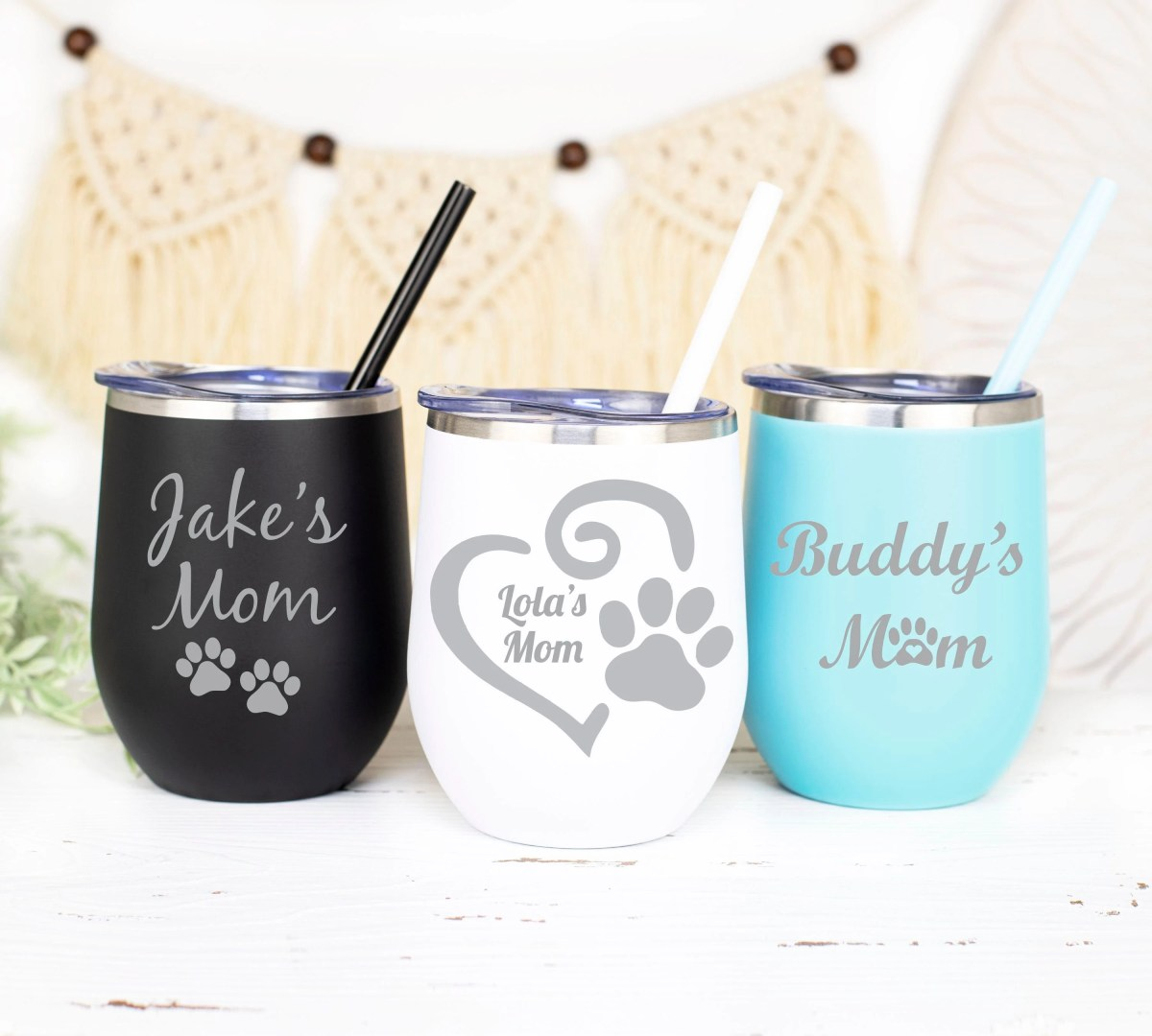 Onebttl Dog Mom Wine Tumbler Dog Lover Gifts for Women Cynophilist Funny 340ml Dog Themed Insulated Stainless Steel Tumbler with Lid for Dog Owner Daughter Dog Person Coworker Aunt Vet Tech