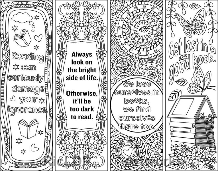 set of 4 coloring bookmarks  quotes plus the colored